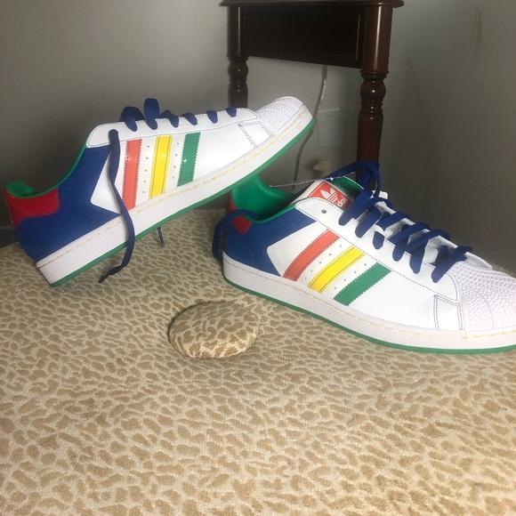 Size 12 Adidas 3 stripe rainbow shoes